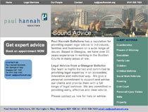 Website for Paul Hannah Solicitors Glasgow